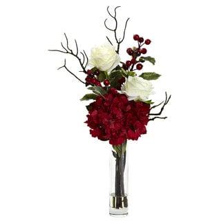 Merry Christmas Rose Hydrangea Arrangement