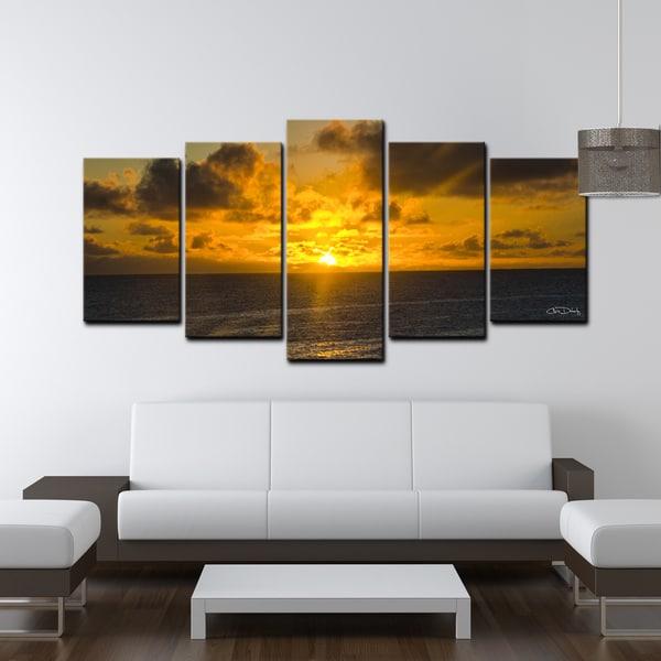 ready2hangart chris doherty 39 niue sunset 39 5 piece canvas. Black Bedroom Furniture Sets. Home Design Ideas
