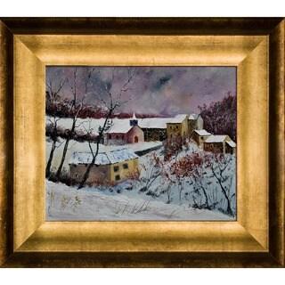 Pol Ledent 'Snow in Houroy 67' Framed Fine Art Print
