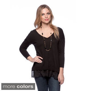 August Silk V-neck Front Seam Longsleeve with Ruffle Bottom