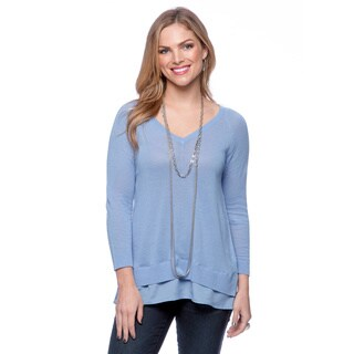 August Silk Women's Veranda Blue V-neck with Chiffon Style Bottom Layer and Back