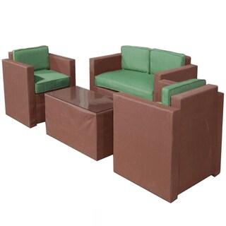 La Fleur Sling 4-piece Brown/ Green Patio Furniture Set
