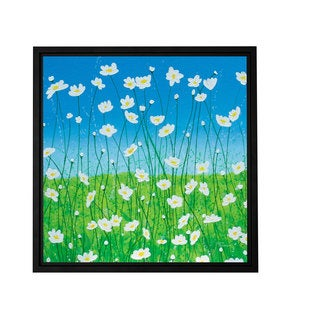 Herb Dickinson 'Jesse's Daisies' Floater-framed Gallery-wrapped Canvas
