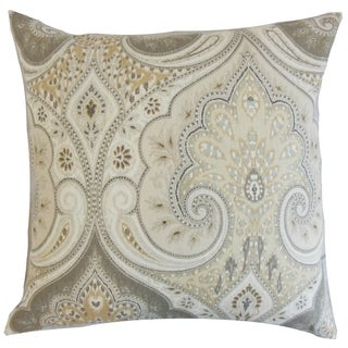 Kirrily Limestone Damask 18-inch Feather Throw Pillow