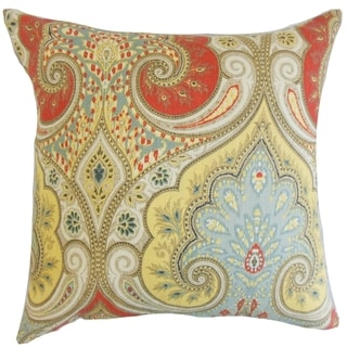 Kirrily Festival Damask 18-inch Feather Throw Pillow