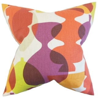 Orla Beet Root Geometric 18-inch Feather throw Pillow