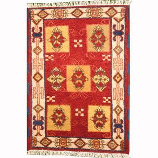 Herat Oriental Indo Hand-knotted Tribal Kazak Red/ Gold Wool Rug (2' x 3')