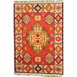 Herat Oriental Indo Hand-knotted Tribal Kazak Rust/ Ivory Wool Rug (2' x 3')