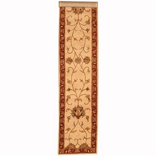 Herat Indo Hand-tufted Tabriz Ivory/ Rust Rug (2'8 x 13')