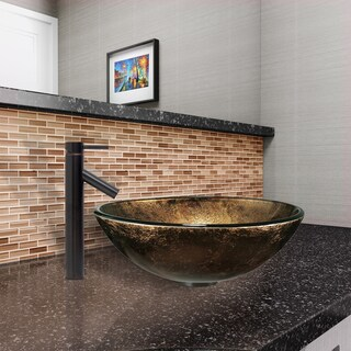 VIGO Sintra Glass Vessel Sink and Dior Faucet Set in Antique Rubbed Bronze Finish