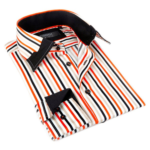 Coogi Luxe Men's Red and Multi Button-down Dress Shirt