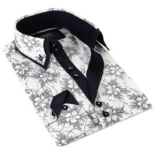 Coogi Luxe Men's White Floral Button-down Dress Shirt