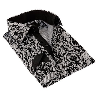 Coogi Luxe Men's Black and White Scroll Pattern Button-down Dress Shirt