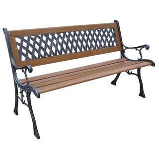 Bronze Cast Iron and Wood Flat Back Park Bench