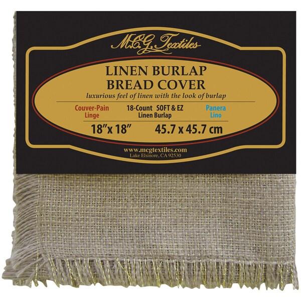 "Soft & EZ Linen Burlap Bread Cover 18""X18""-Natural W/Gold Metallic 18 Count"