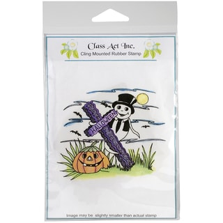 """Class Act Cling Mounted Rubber Stamp 4.25""""X5.75""""-Halloween Ghost"""