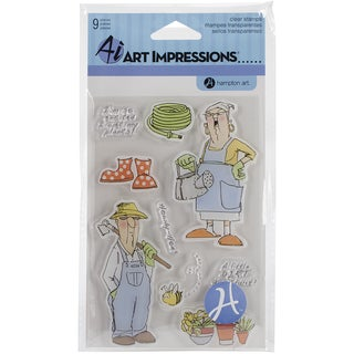 "Art Impressions Clear Stamps 4""X8""-His & Hers Gardeners"