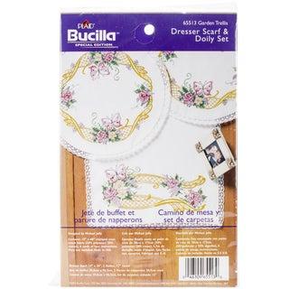 "Garden Trellis Stamped Cross Stitch Dresser Scarf & Doilies-Dresser Scarf 14""X38"" & Doilies 12"""