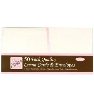 """Anita's Square Cards/Envelopes 5""""X5"""" 50/Pkg-Cream"""