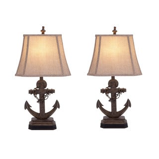 Malibu Anchor 28-inch Nautical Ceramic Table Lamp (Set of 2)