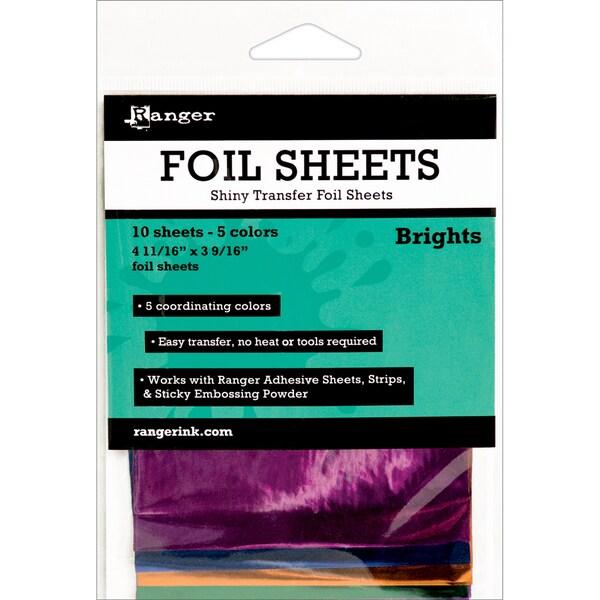Ranger Shiny Transfer Foil Sheets 10/Pkg-Brights