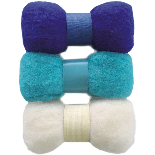 Feltworks Roving Trio Pack 1.58oz-Blue, Turquoise & White