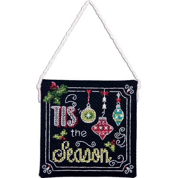 "Tis The Season Ornament Counted Cross Stitch Kit-4""X4"" 14 Count"