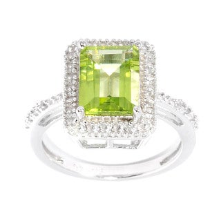 Sterling Silver Peridot and White Topaz Rectangle Ring