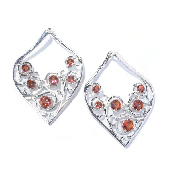 Sterling Silver Sunset Topaz Tear Drop Earrings