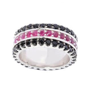 Sterling Silver Black Spinel and Ruby Three-row Iternity Band Ring