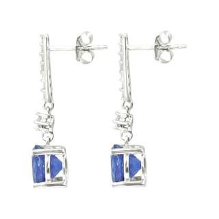 Sterling Silver Tanzanite White Zircon Dangling Earrings