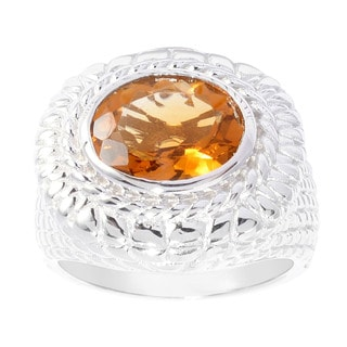 Sterling Silver Oval Madeira Citrine Ring