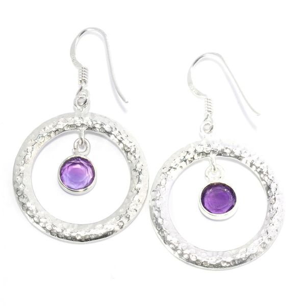 Sterling Silver Amethyst Textured Circle Earrings