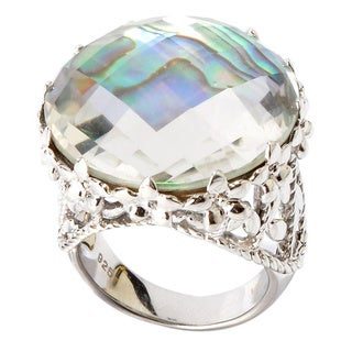 Sterling Silver Abalone Shell Rock Crystal Doublet Ring
