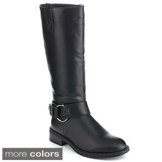 Bonnibel 'Albert-1' Women's Ankle Strap Knee-high Riding Boots