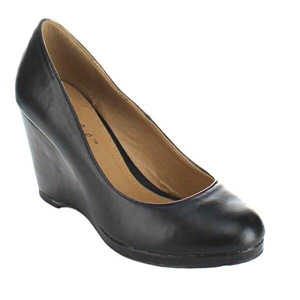 Bonnibel 'Kathy-1' Women's Slip-on Platform Wedge Heel Dress Pumps