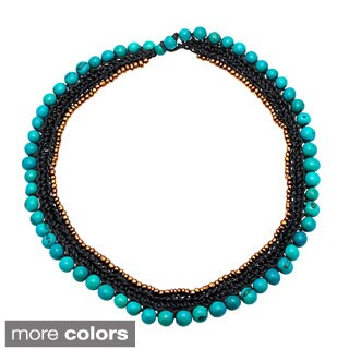 Benatar Acai Seed and Glass Beads 16-inch Collar Necklace (Bolivia)