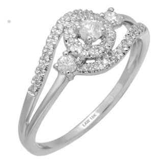 10k White Gold 1/3ct TDW Promise Halo Ring (H-I, SI1-SI2)