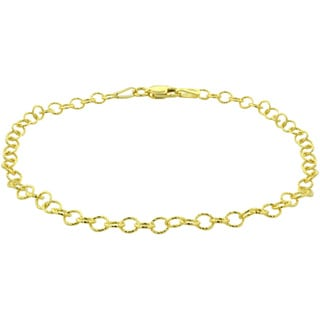 Mondevio 14k Yellow Gold 2.75 mm Textured Rolo Chain Necklace