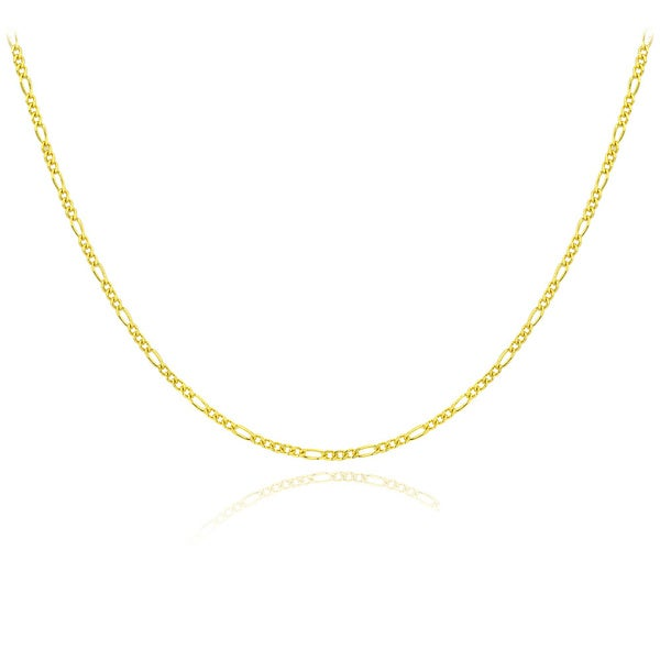 Mondevio 14k Gold 1mm Figaro Chain Necklace