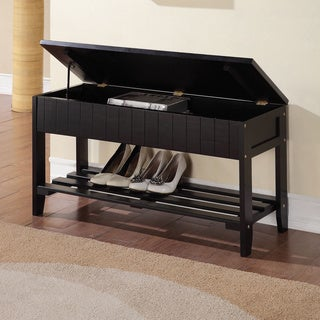 Black Solid Wood Storage Bench with Shoe Shelf