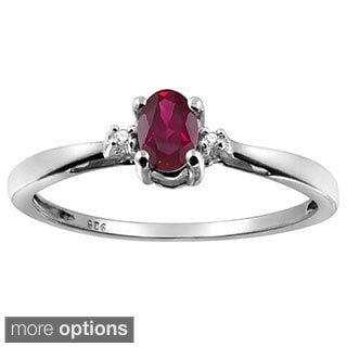 Silver Ruby Gemstone and White Diamond Accent Solitaire Ring