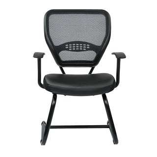 Breathable Air Grid Back Chair with Padded Black Eco Leather Seat