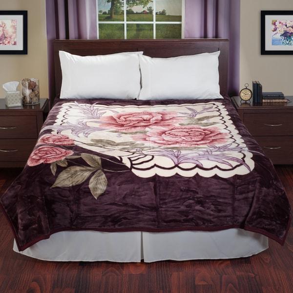 Lavish Home Reversible Soft Mink Blanket with Rose Flower