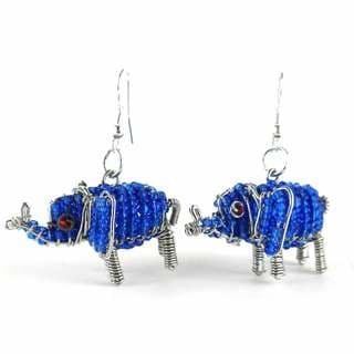Handmade Beaded Dark Blue Elephant Earrings (South Africa)