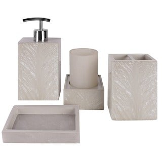 Solitaire Cream 4-piece Bathroom Accessory Set