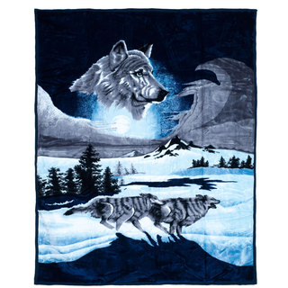 Lavish Home Soft Mink Blanket with Wolf Scene