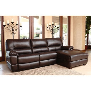 ABBYSON LIVING Kingston Power Reclining Top Grain Leather Sectional