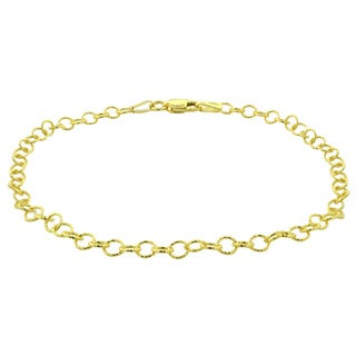 Mondevio 14k Yellow Gold 3.5mm Textured Rolo Chain Necklace