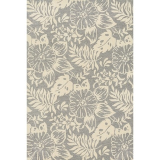 Hand-hooked Charlotte Grey/ Ivory Rug (5'0 x 7'6)